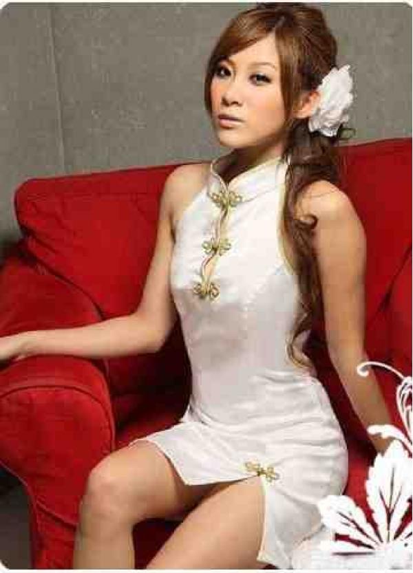 【即納】ホワイト チャイナドレス風ベビードール 花 笹 地模様プリント tk-x4014