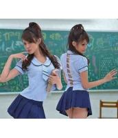【即納】水色ブルー 女学生制服 背中見せ プリーツスカート コスプレ☆tk-xx8060