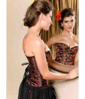 【即納】ファイアー燃える 萌え刺繍 ブラック&レッド オーバーバストコルセット Lサイズtk-cc51981-l