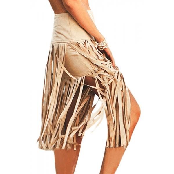 【インポート水着】【カーキ】スカート【フリンジ入り】ビーチグッズ【ビーチファッション】 cc42147-16