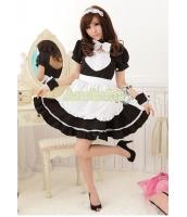 メイド ウェイトレス コスチューム コスプレ ハロウィン 仮装 衣装 6点セット Lサイズ bwn1020-9