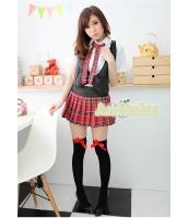 女子高生制服 コスチューム コスプレ ハロウィン 仮装 衣装 4点セット Lサイズ bwn1082-2