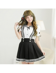 コスチューム コスプレ ハロウィン 仮装 衣装 女子高生制服 セーラー服 2点セット XLサイズ bwn1310-23