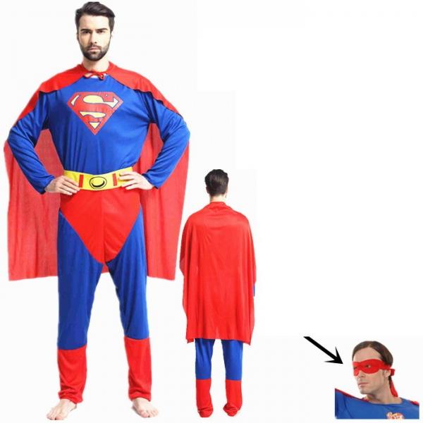 ハロウィン仮装 コスチューム コスプレ スーパーマン 4点セット ジャンプスーツ+ウエストバンド+マント+アイマスク hw0016-1