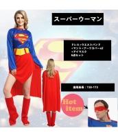 ハロウィン仮装 コスチューム コスプレ スーパーマン 6点セット ドレス+ウエストバンド+マント+ブーツカバーx2+アイマスク hw0016-2