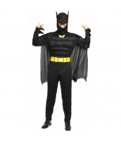 ハロウィン仮装 コスチューム コスプレ バットマン 3点セット ジャンプスーツ+フーヅマスク付きマント+マスク hw0016-23