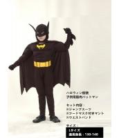 ハロウィン仮装 コスチューム コスプレ バットマン 子供用 Lサイズ(130-140) 3点セット ジャンプスーツ+フードマスク付きマント+ウエストバンド hw0017-9