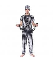 ハロウィン仮装 コスチューム コスプレ 囚人 3点セット 帽子+トップス+パンツ hw0025-1