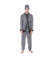 ハロウィン仮装 コスチューム コスプレ 囚人 3点セット 帽子+トップス+パンツ(道具別売) hw0025-2