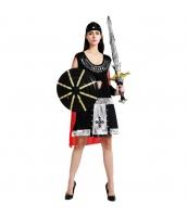 ハロウィン仮装 スチューム コスプレ 古代ローマ 女スパルタクス 4点セット ヘッドピース+アームカバーx2+マント付きワンピース(道具別売) hw0039-11