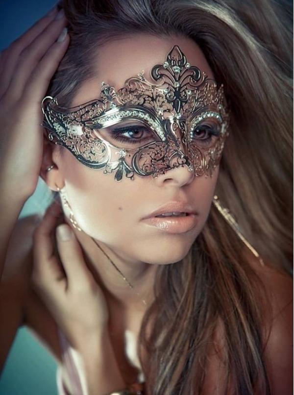 ハロウィン仮装 貴族気分 パーティ合金シルバー銀マスク ラインストーン コスプレ HW0046-2