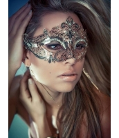 ハロウィン仮装 貴族気分 パーティ合金ホワイト白マスク ラインストーン コスプレ HW0046-3