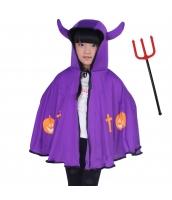 ハロウィン仮装 コスチューム 大人/子供共通 悪魔 2点セット マント+熊手 hw0075-8