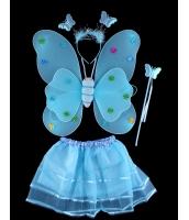 ハロウィン仮装 子供エンジェル コスチューム コスプレ 4点セット ウィング+カチューシャ+棒+ペチコート hw0091-18