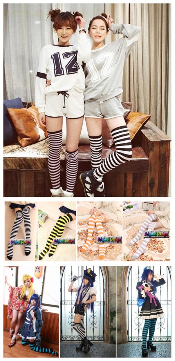 ソックス 靴下 ニーソックス ハイソックス ゴスロリ ロリータ ボーダー 普段使い&コスプレに最適 hw0111-1
