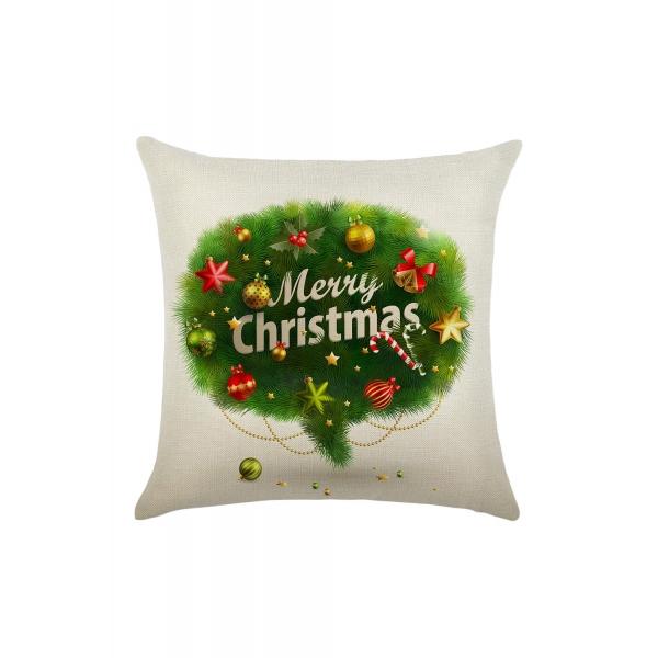 グリーン メリークリスマスツリー プリント 枕カバー cc0601-9