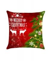 レッド & グリーン クリスマスツリー エルク 枕カバー cc0625-3