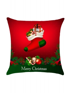 レッド & グリーン クリスマス ソックス ギフト 枕カバー cc0646-3