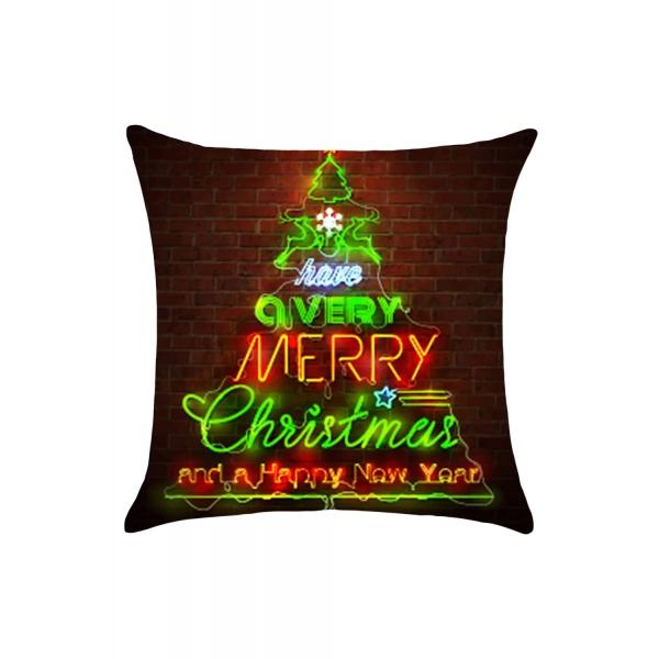 クリスマスツリー 煉瓦の壁 プリント 枕カバー cc0651-17
