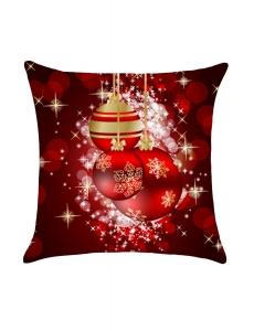 ディープレッド クリスマス スノーフレーク ボール柄 枕カバー cc0656-3