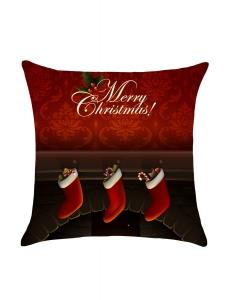 クリスマス 暖炉柄 リネン 枕カバー cc0657-3