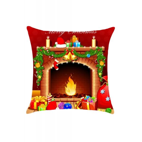 クリスマス 暖炉柄 リネン 枕カバー cc0662-22