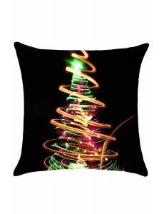 ネオン ライト クリスマスツリー プリント リネン 枕カバー cc0666-22