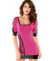 【即納】ミニワンピース ミニドレス セクシードレス パーティドレス ピンク セクシー 半袖 ドレス tk-cc2193-4-f-pk【カラー:ピンク】【サイズ:フリー】