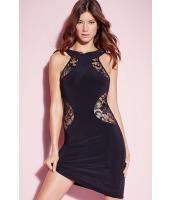 セクシー ブラック レース入り ミニ ドレス  ナイトドレス ドレス パーティドレス セクシードレス セクシーワンピースCC21949