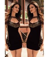 ゴールド スタッズ ネック ブラック ミニ ドレス  ナイトドレス ドレス パーティドレス セクシードレス セクシーワンピースcc21966