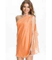 オレンジ 非対称 ドレープ ワンショルダー ミニ ドレス  ナイトドレス ドレス パーティドレス セクシードレス セクシーワンピースCC21977-2