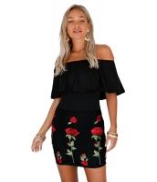 フリル オフショルダー 花柄 刺繍 ブラックショート ドレス cc220005-2