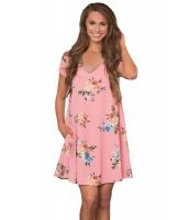 ピンク ポケット デザイン 夏 花柄 シャツ ドレス cc220016-10
