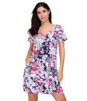 ビンテージ デザインポケット 夏物 花柄 シャツドレス cc220016-22