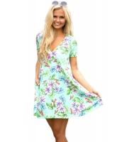 ライト グリーン ポケット デザイン 夏 花柄 シャツ ドレス cc220016-9