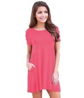 ピンク バンドゥ 半袖 平置き カジュアル ドレス cc220023-10
