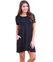 ブラック バンドゥ 半袖 平置き カジュアル ドレス cc220023-2