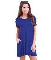 ブルー バンドゥ 半袖 平置き カジュアル ドレス cc220023-5
