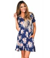 ブルー クロス ストラップネック 夏物 花柄 ドレス cc220028-5
