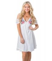 ホワイト コールドショルダー 花柄 刺繍 レース ドレス cc220030-1