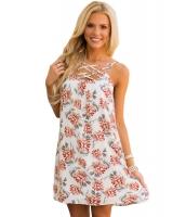 ホワイト 花柄 プリント クリスクロス ネックライン シフト ドレス cc220043-1