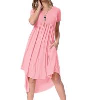 ピンク 半袖 ハイロー プリーツ カジュアル スウィング ドレス cc220045-10