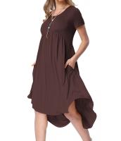 赤褐色 半袖 ハイロー プリーツ カジュアル スイング ドレス lc220045-17