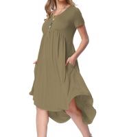 アーミー グリーン 半袖 ハイロー プリーツ カジュアル スイング ドレス cc220045-9