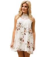 ホワイト クローシェ編み レースネック 花柄 ドレス cc220046-1