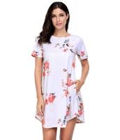 カジュアル デザインポケット ホワイト 花柄 ミニドレス ボヘミアン ドレス cc220050-1