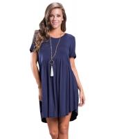 ネイビー ブルー 半袖 プルオーバー ベビードール スタイル カジュアル ドレス cc220055-105