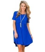 ブルー 半袖 プルオーバー ベビードール スタイル カジュアル ドレス cc220055-5