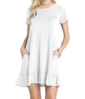 ホワイト 半袖 ドレープ 裾周り カジュアル シャツ ドレス lc220060-1