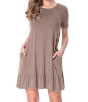 ブラウン 半袖 ドレープ 裾周り カジュアル シャツ ドレス lc220060-17